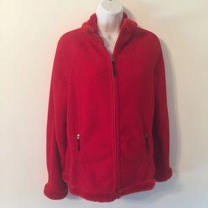 Green Tea Red Faux Fur Lined Jacket Zip Sz Small